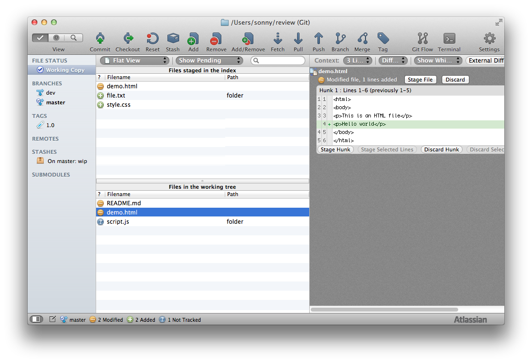 Enlarge screenshot of SourceTree