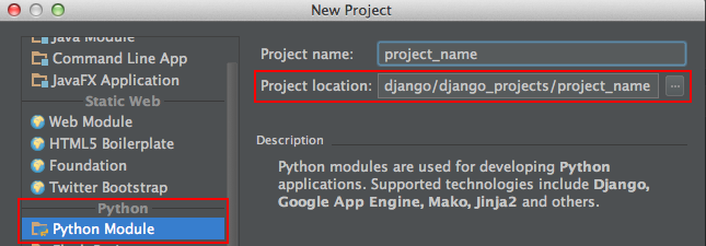 Select the existing PyCharm project directory for 'Project location'