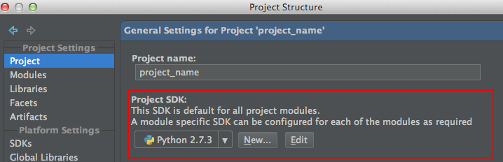 Select the project's Python interpreter created earlier in the 'Project SDK' dropdown